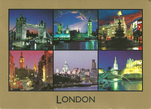 Multi view London postcard gold