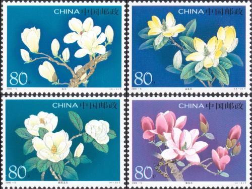 Magnolia-China-Plants-Flower-Postage-Stamp-All-new-For-Collecting-4-Pieces-Special-stamps-High-Value