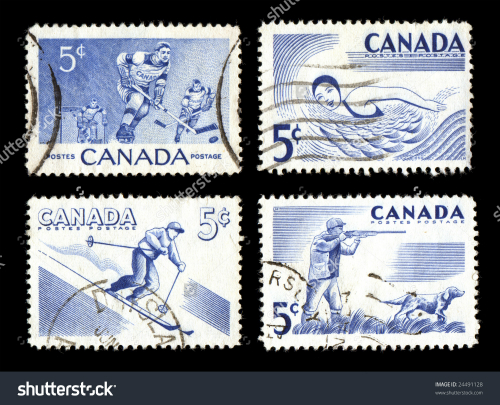 stock-photo-canadian-postage-stamps-sports-theme-old-commemorative-isolated-on-black-24491128